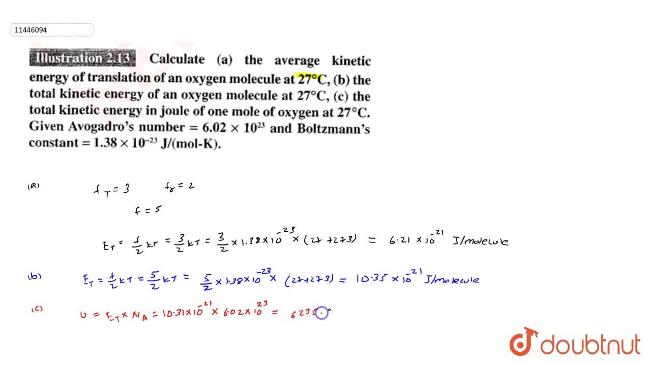 Solution for Calculate (a) the average kinetic energy of transl