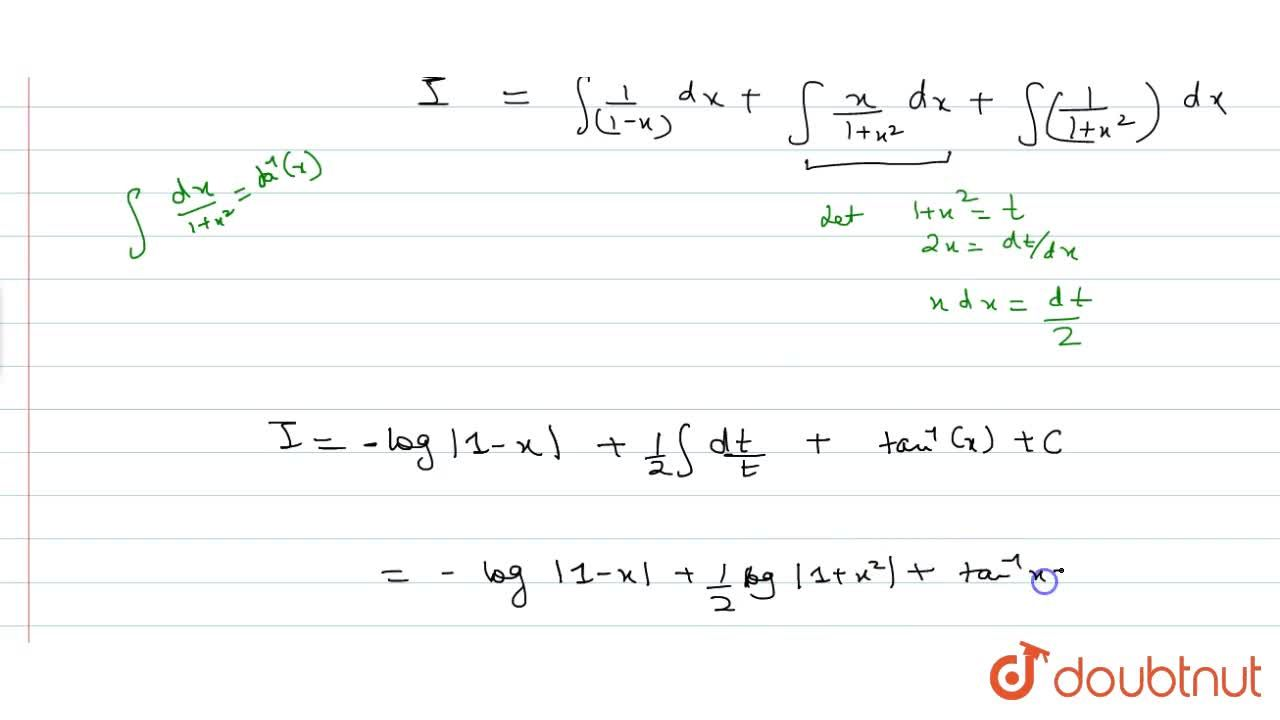 Solution for int2,((1-x)(1+x^2))dx
