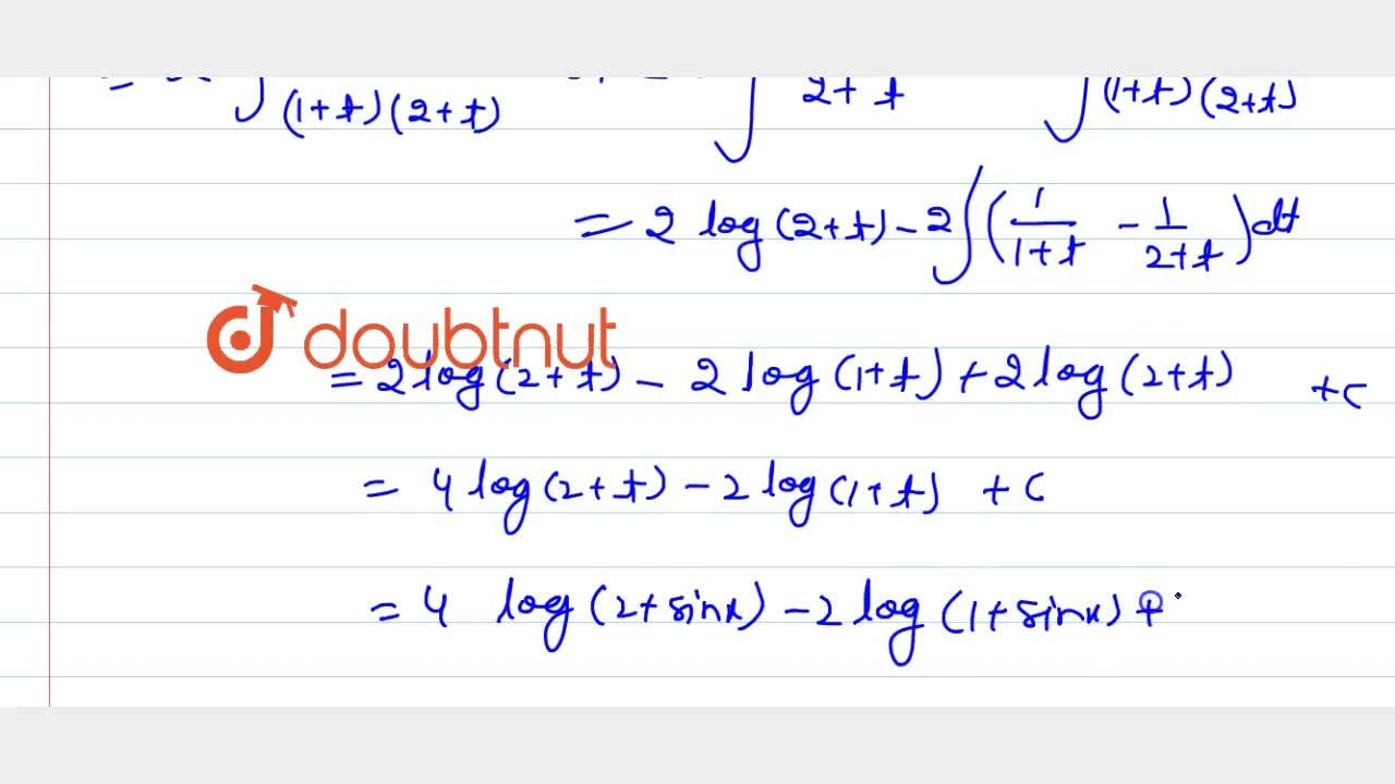 Solution for Evaluate: int(sin2x),((1+sinx)(2+sinx))dx