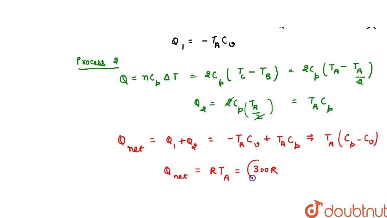 Solution for Two moles of a certain gas at a temperature T_0=3