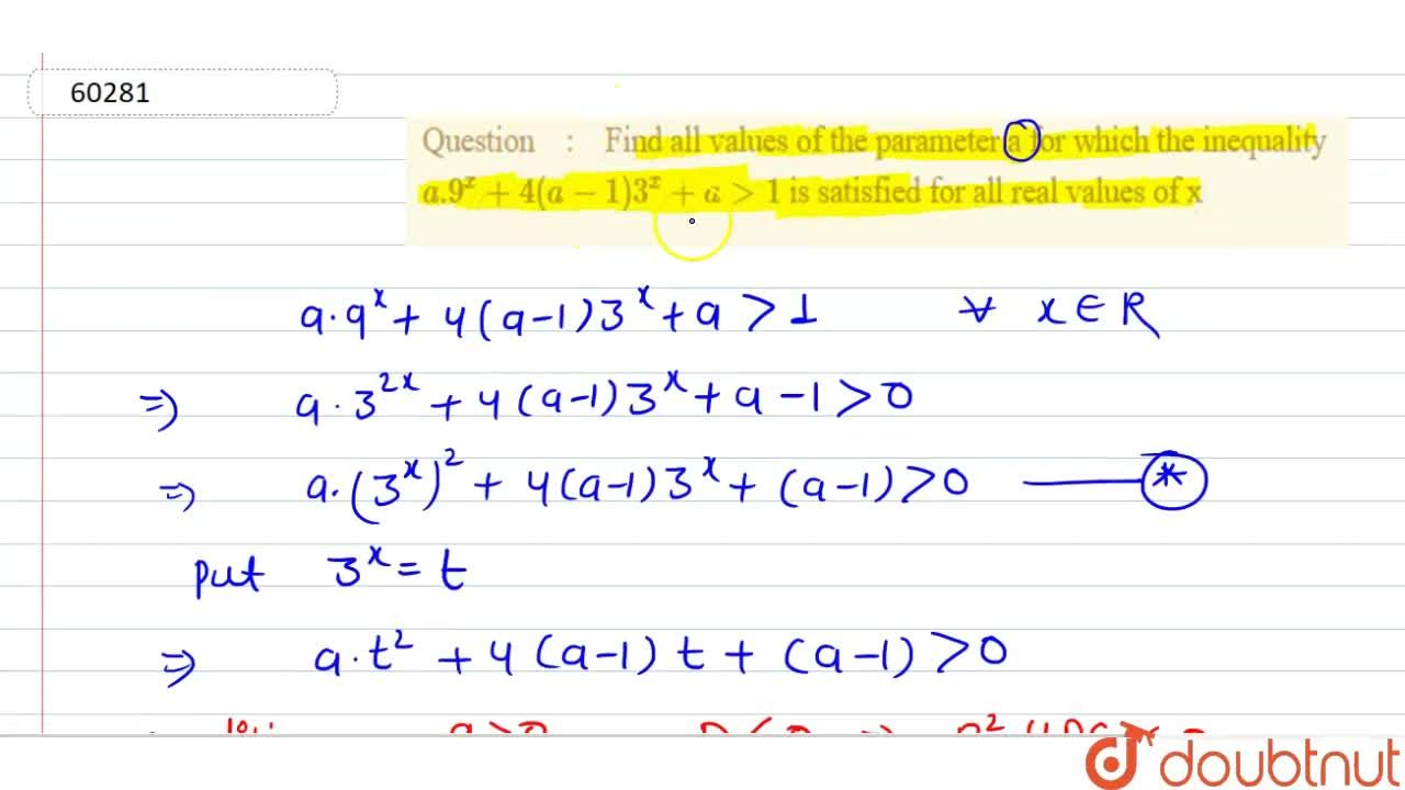 Solution for Find all values of the parameter a for which the i