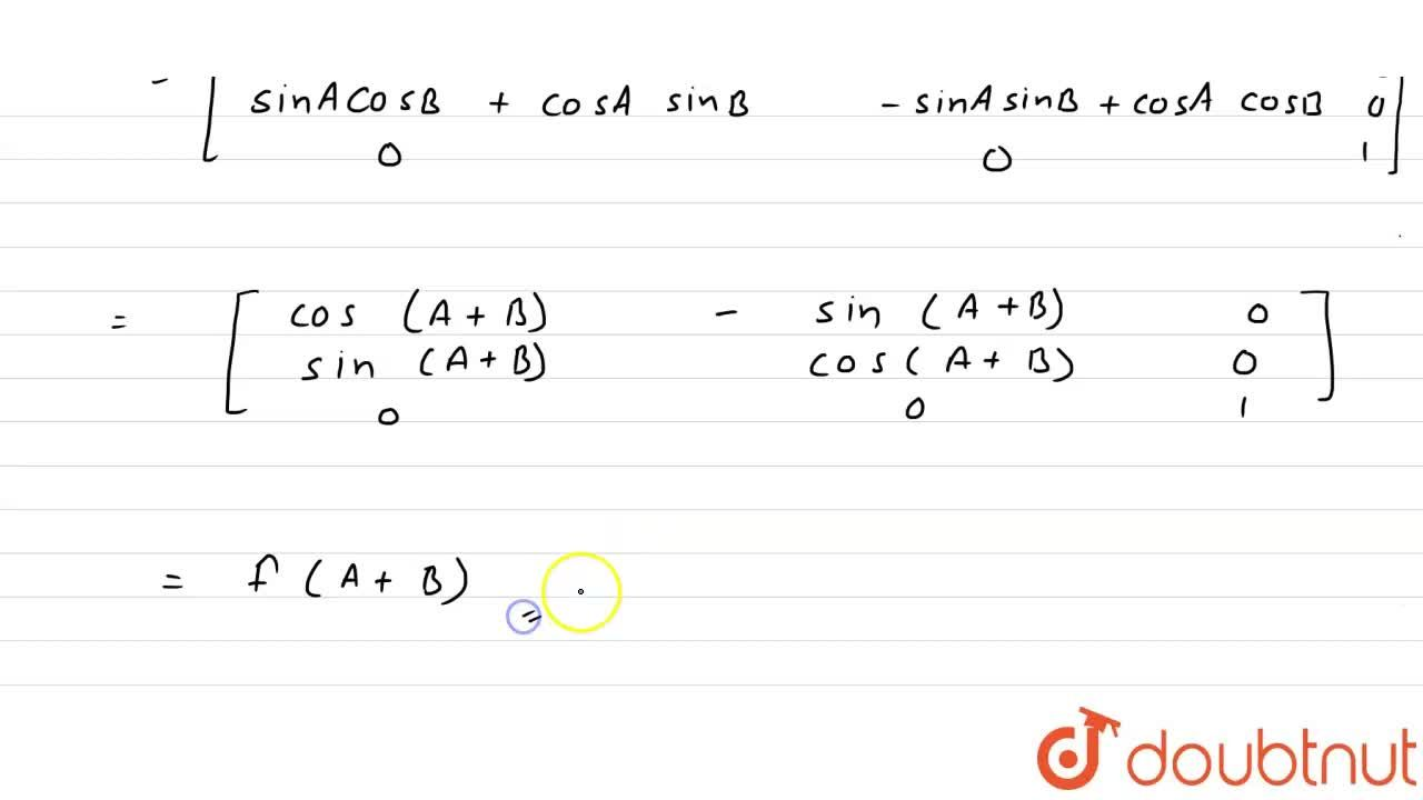 Solution for यदि f(x) = [[cosx,-sin x,0],[sinx,cosx  ,0],[0,0,