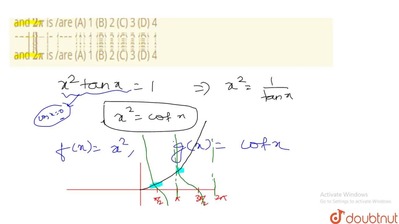 The number of real roots (s) of the equation x^2tanx=1 lying between 0 and 2pi is ,are (A) 1 (B) 2 (C) 3 (D) 4