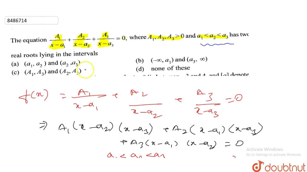 Solution for The equation A,(x-a_1)+A_2,(x-a_2)+A_3,(x-a_3)=0
