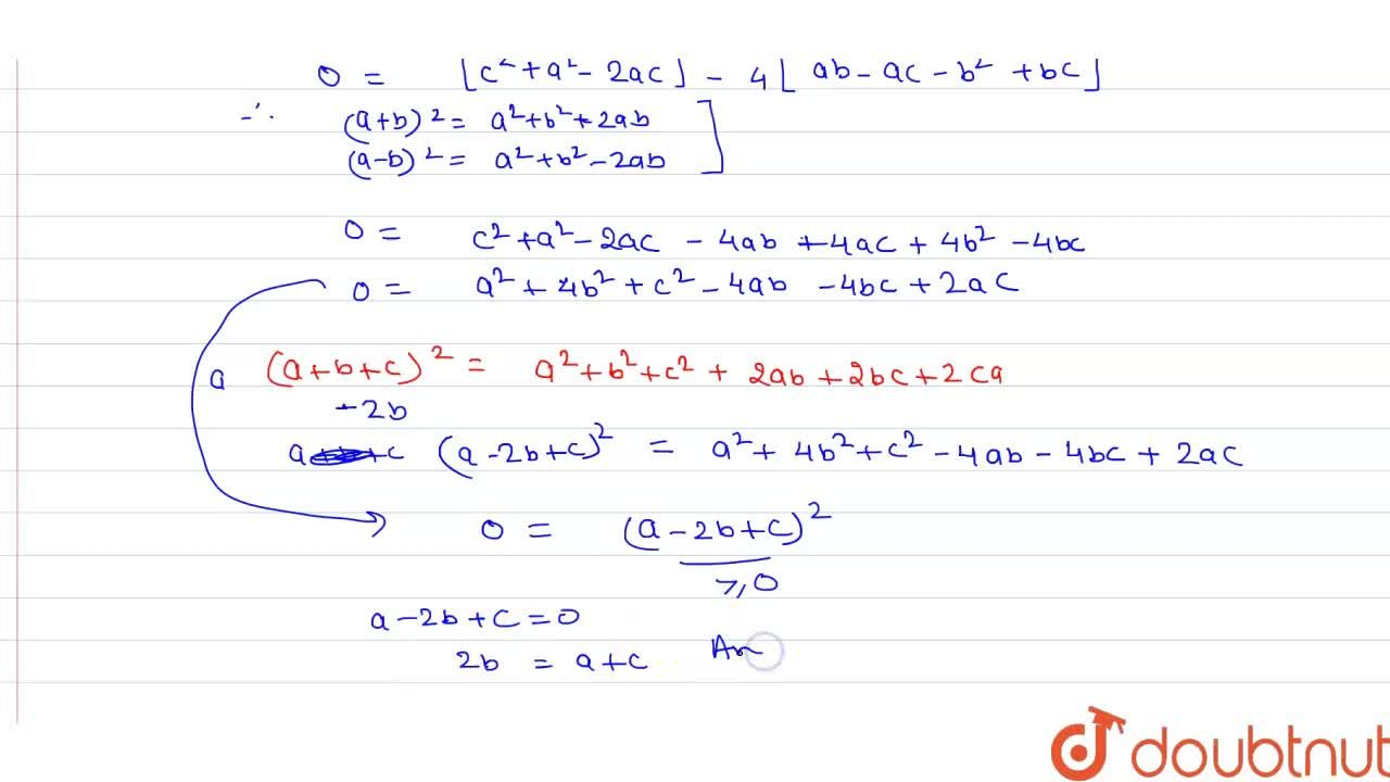 Solution for यदि द्विघात समीकरण (b-c)x^(2)+(c-a)x+(a-b)=0 के