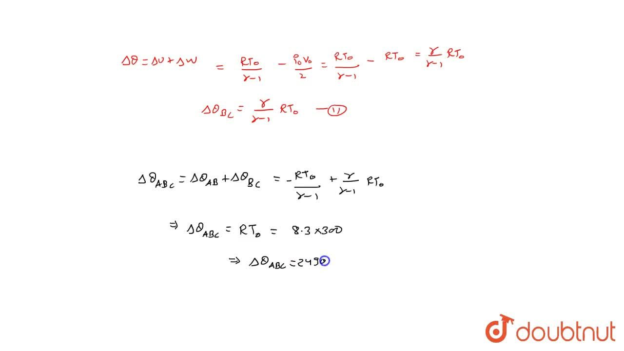 Solution for Two moles of an ideal gas at temperature T_(0) =