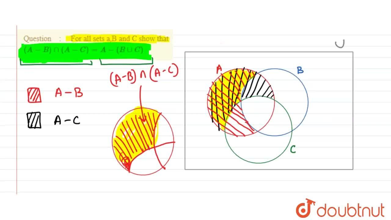 Solution for  For all sets a,B and C show that (A-B)nn(A-C)=A-