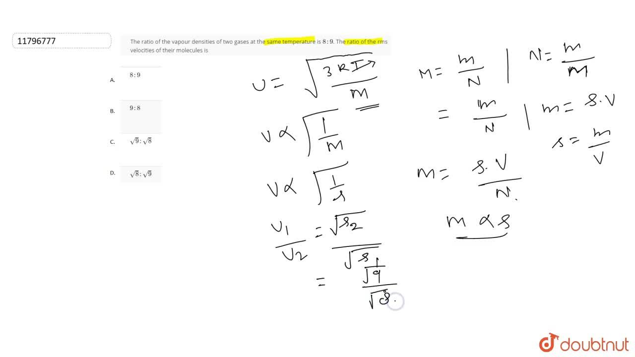 Solution for The ratio of the vapour densities of two gases at