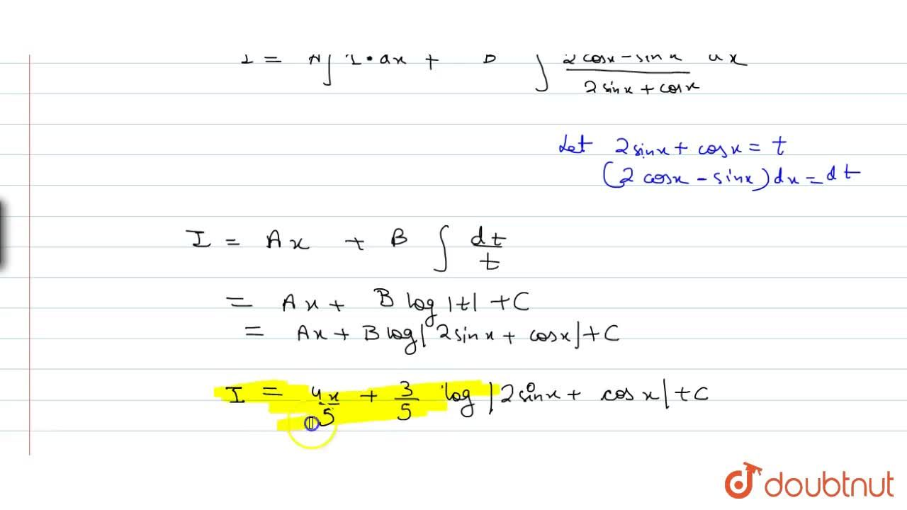 Solution for int(sinx+2cosx),(2sinx+cosx)dx