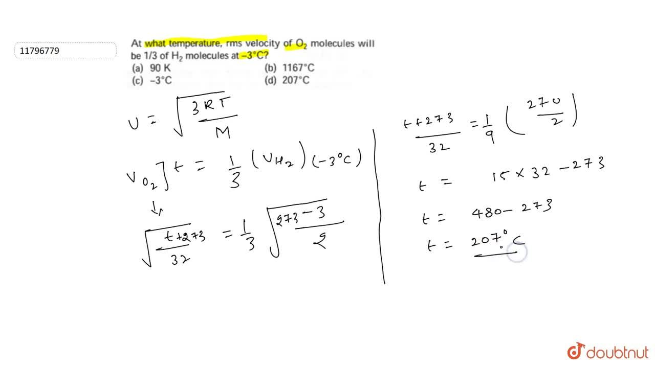 Solution for At what temperature, rms velocity of O_(2) molec