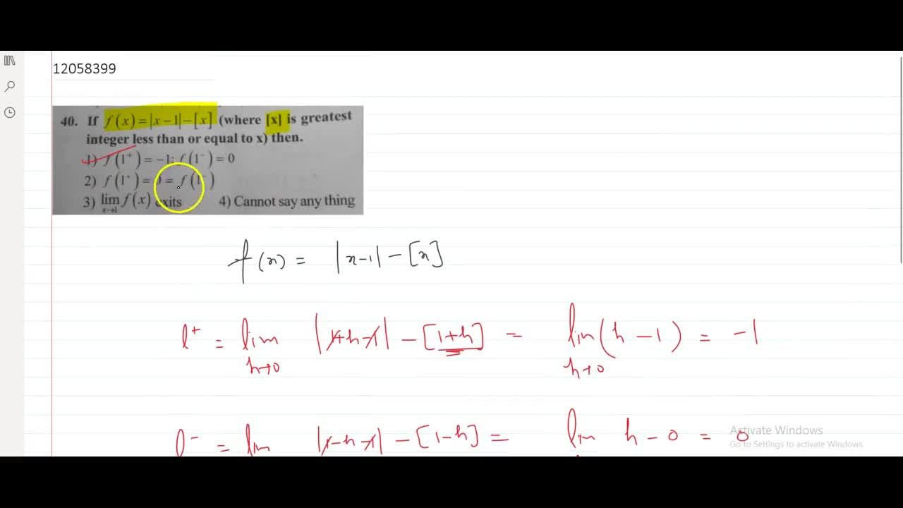 Solution for If f(x)=|x-1|-[x] (where [x] is greatest integ
