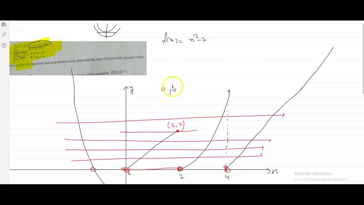 let g(x)=x^2-2 , -oo < x <0 and g(x)=x, 0 <= x <2 and g(x)=(x-2)^2 , 2 <= x < 4 and g(x)=x-4 , 4 <= x < oo If the equation g(x)=k has four real and distinct roots, then find the sum of all possible integral values of k.