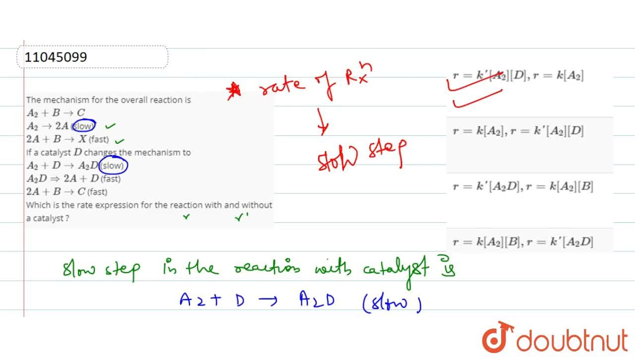 Solution for The mechanism for the overall reaction is <br> A_