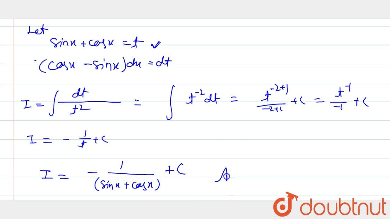 Solution for Evaluate: int(cosx-sinx),(1+sin2x)dx