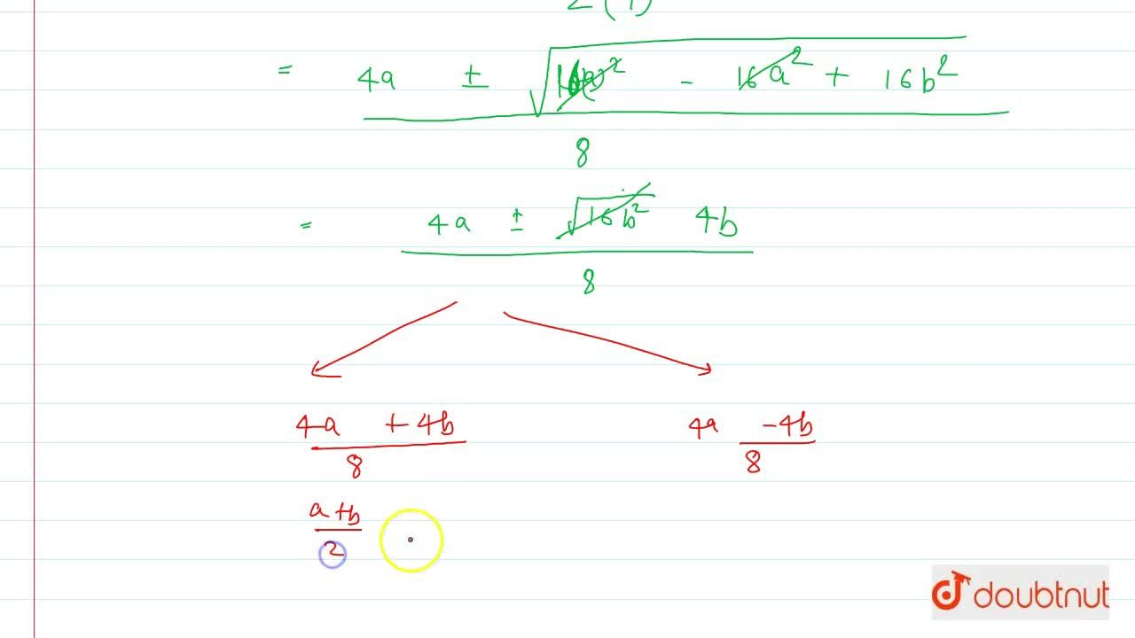 Solution for Solve the equation for x :  4x^2 - 4ax + (a^2 -b^