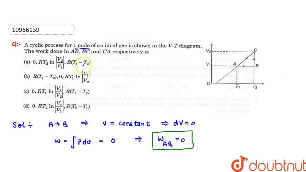 Solution for The cyclic process for 1 mole of an ideal gas is s
