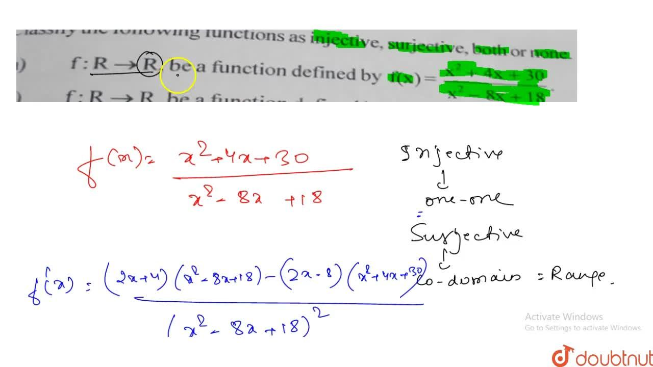 Solution for Classify the following functions as injective, sur