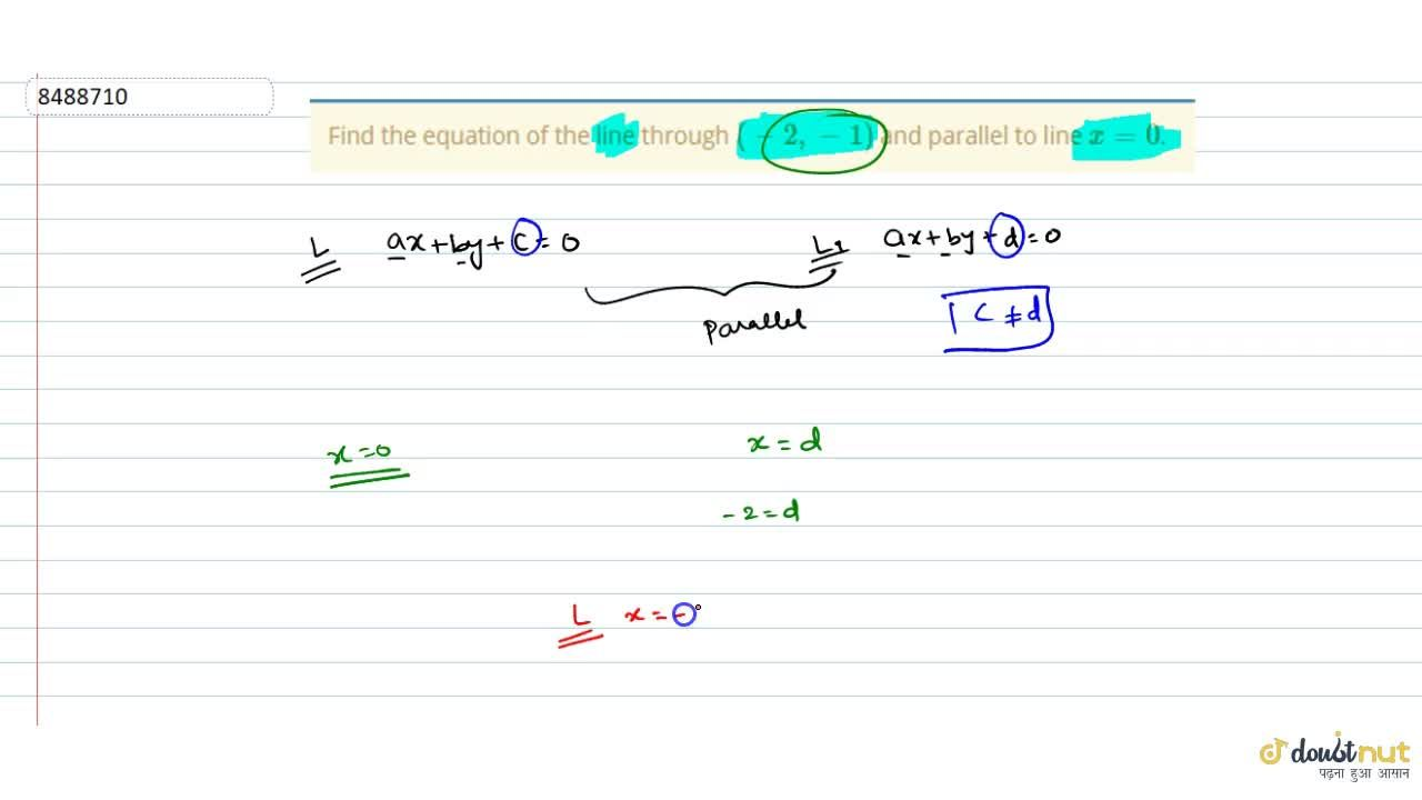 Solution for Find the equation of the line through (-2, -1) a