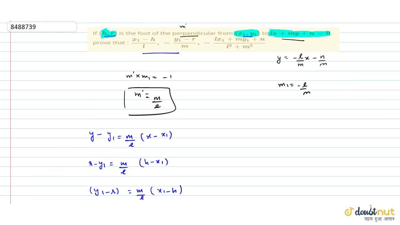 Solution for If (h, r) is the foot of the perpendicular from