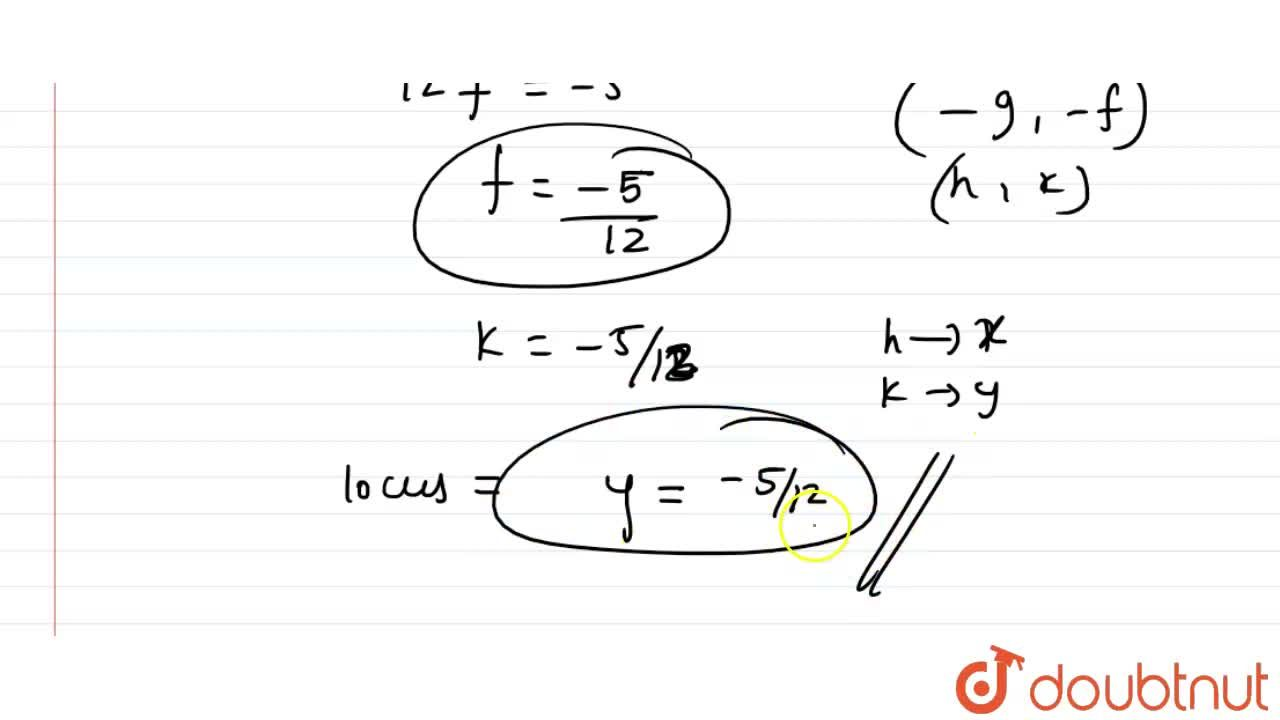 Solution for Find the locus of the centres of the circle which
