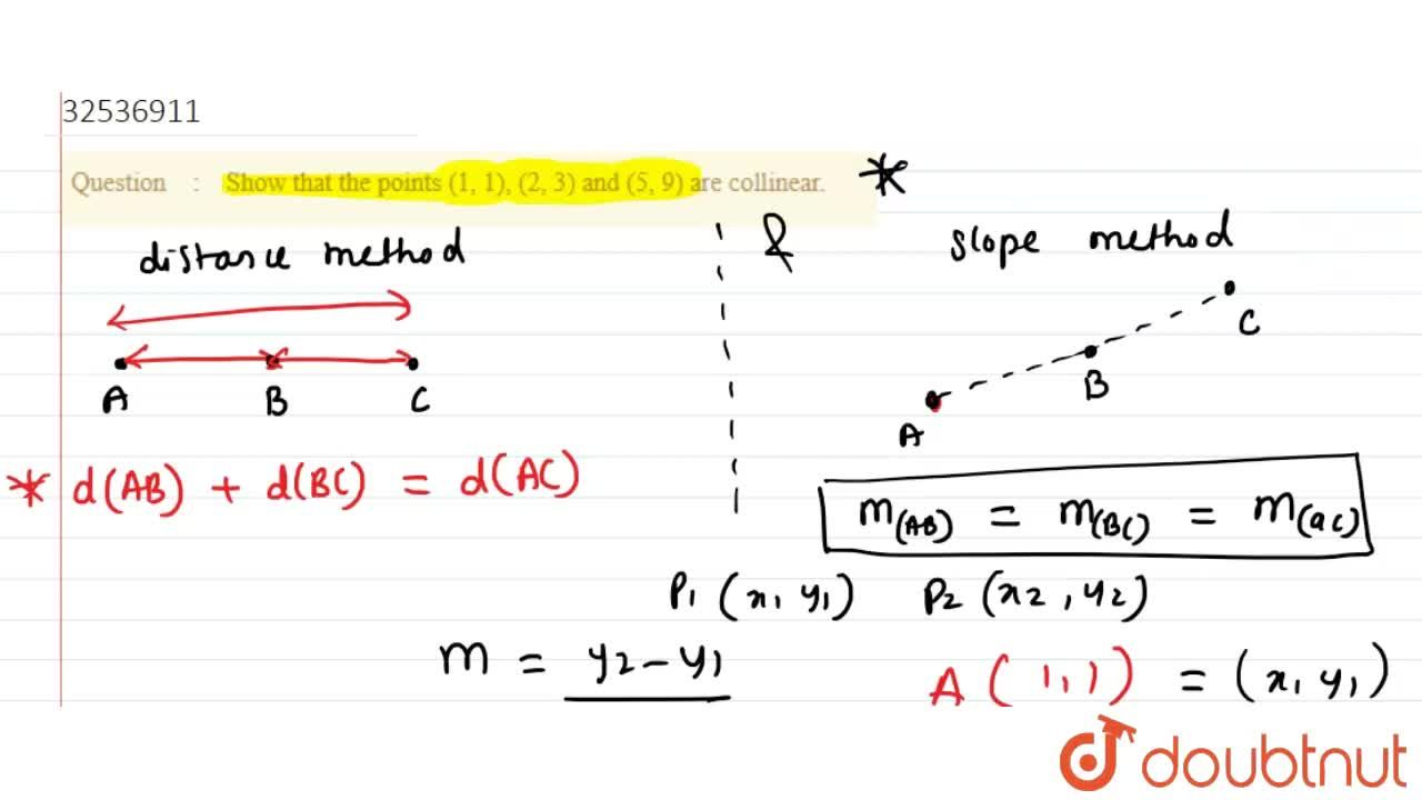 Solution for Show that the points (1, 1), (2, 3) and (5, 9) are