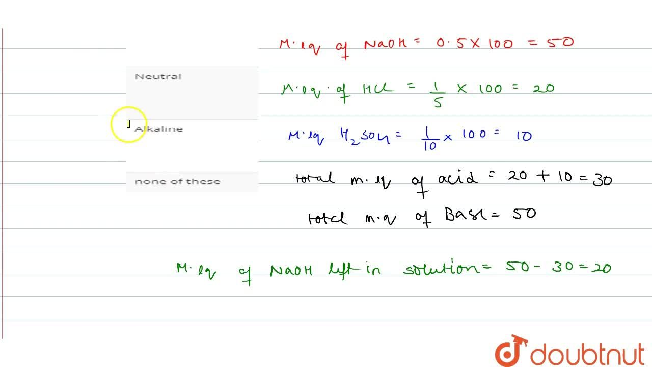 Solution for 100 mL each of 0.5 N NaOH, N,,5 HCl and N,,10