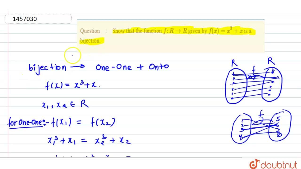 Solution for Show that the function f: R->R given by f(x)=x^