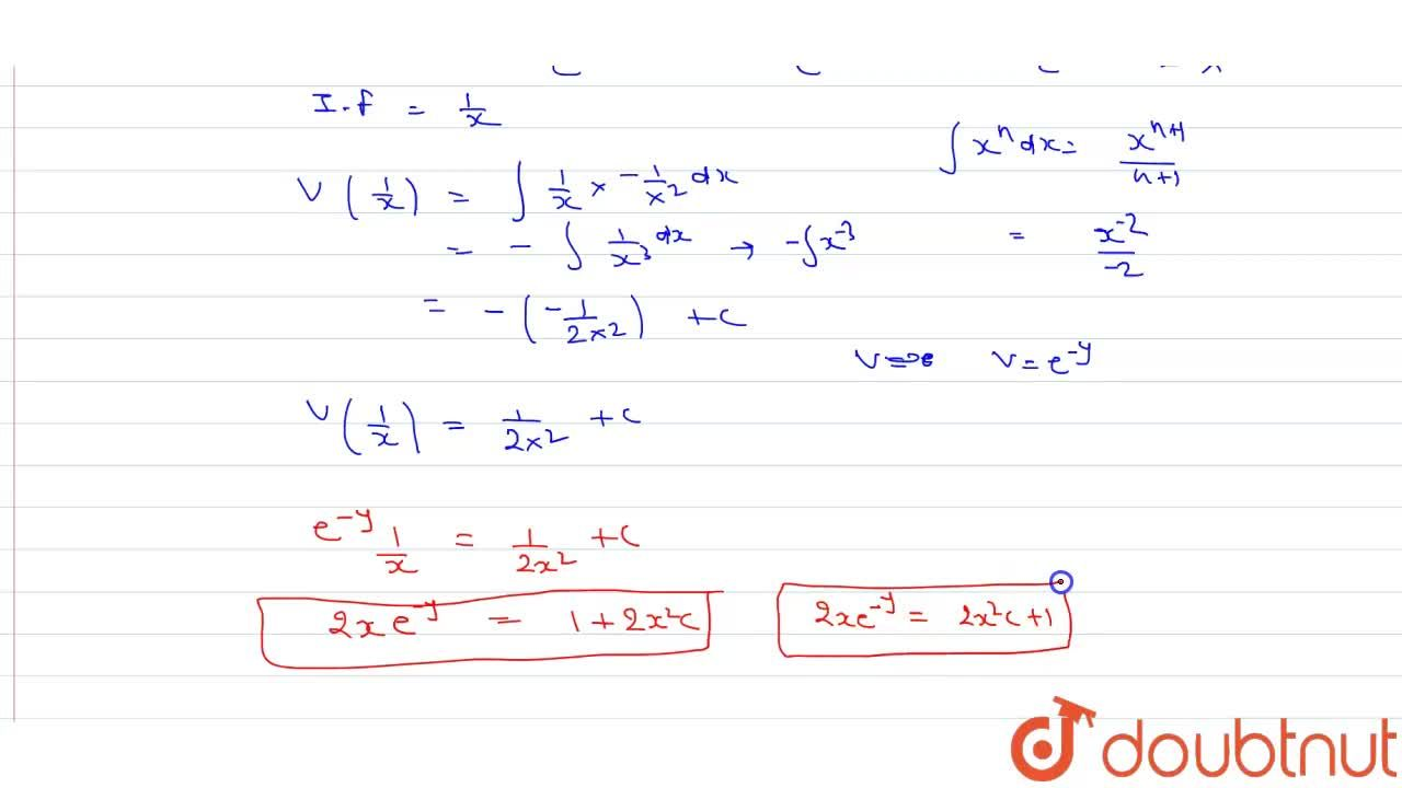 Solution for हल कीजिए :  (dy),(dx)=(e^(y)),(x^(2))-(1),(x)