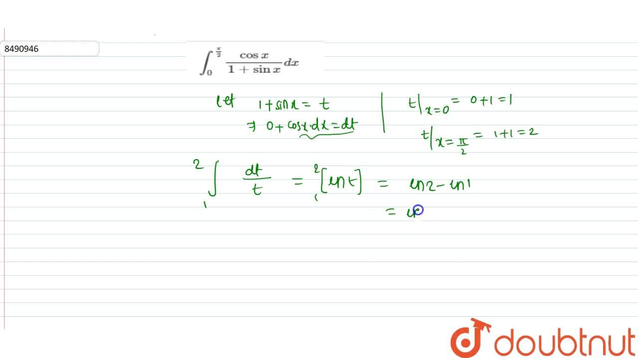 Solution for int_0^(pi,2) cosx,(1+sinx)dx