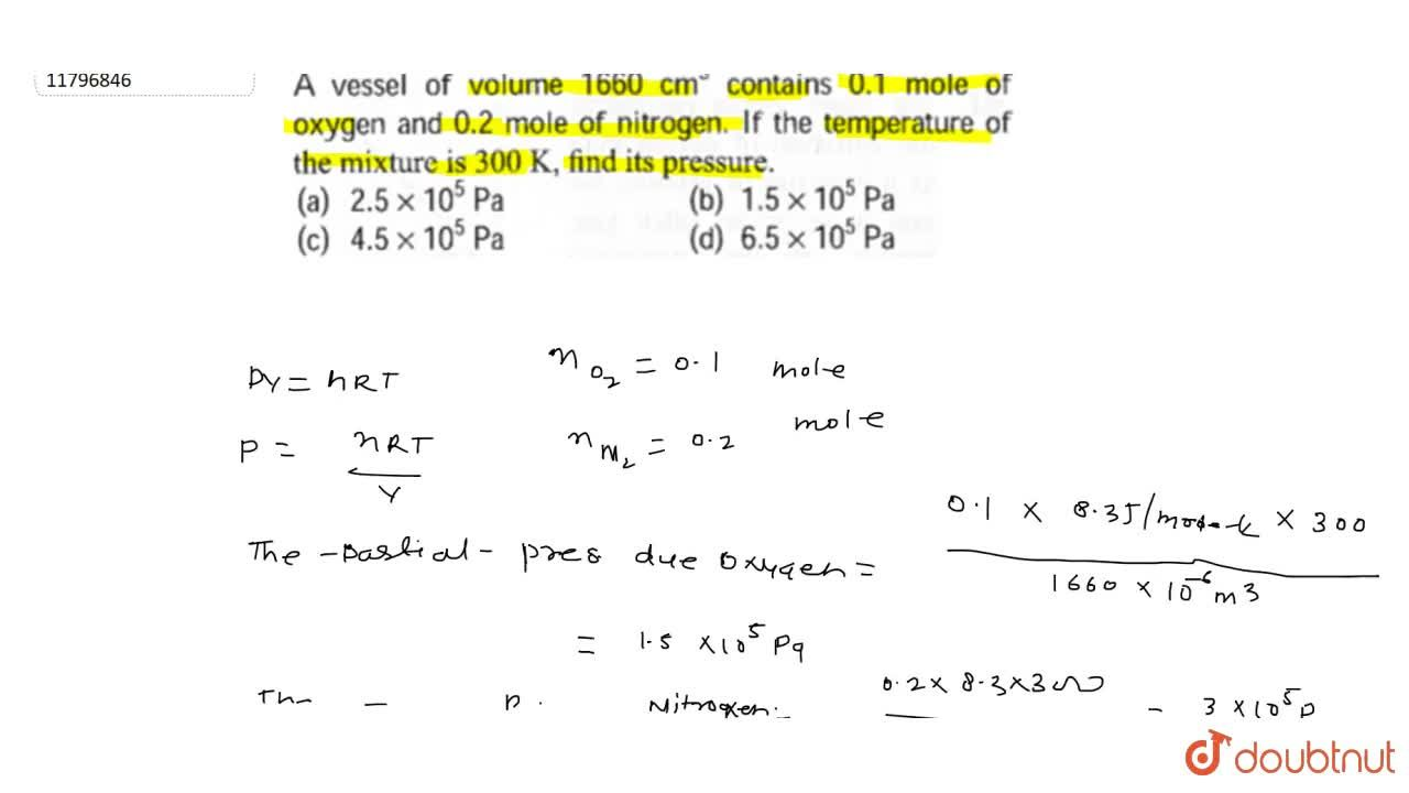 """Solution for A vessel of volume 1660 cm^(3) contains 0.1 """"mo"""