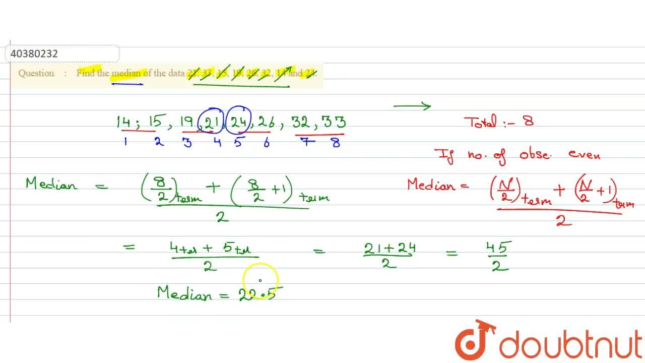 Solution for Find the median of the data 21, 33, 15, 19, 26, 32