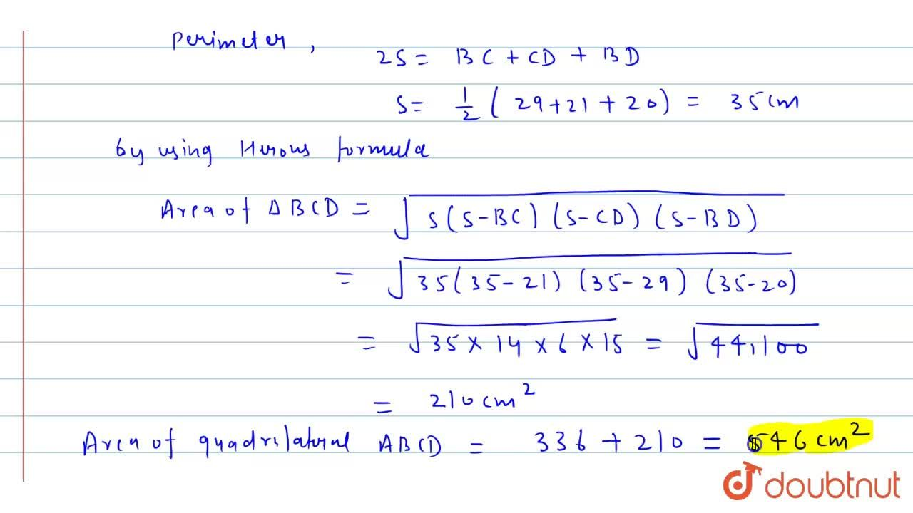 Solution for Find the  area of the  quadrilateral ABCD in  whic