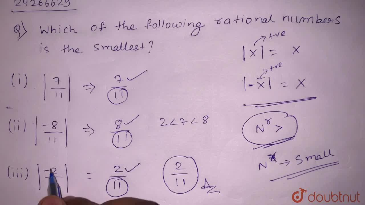 Solution for  Which of the following rational numbers is the sm