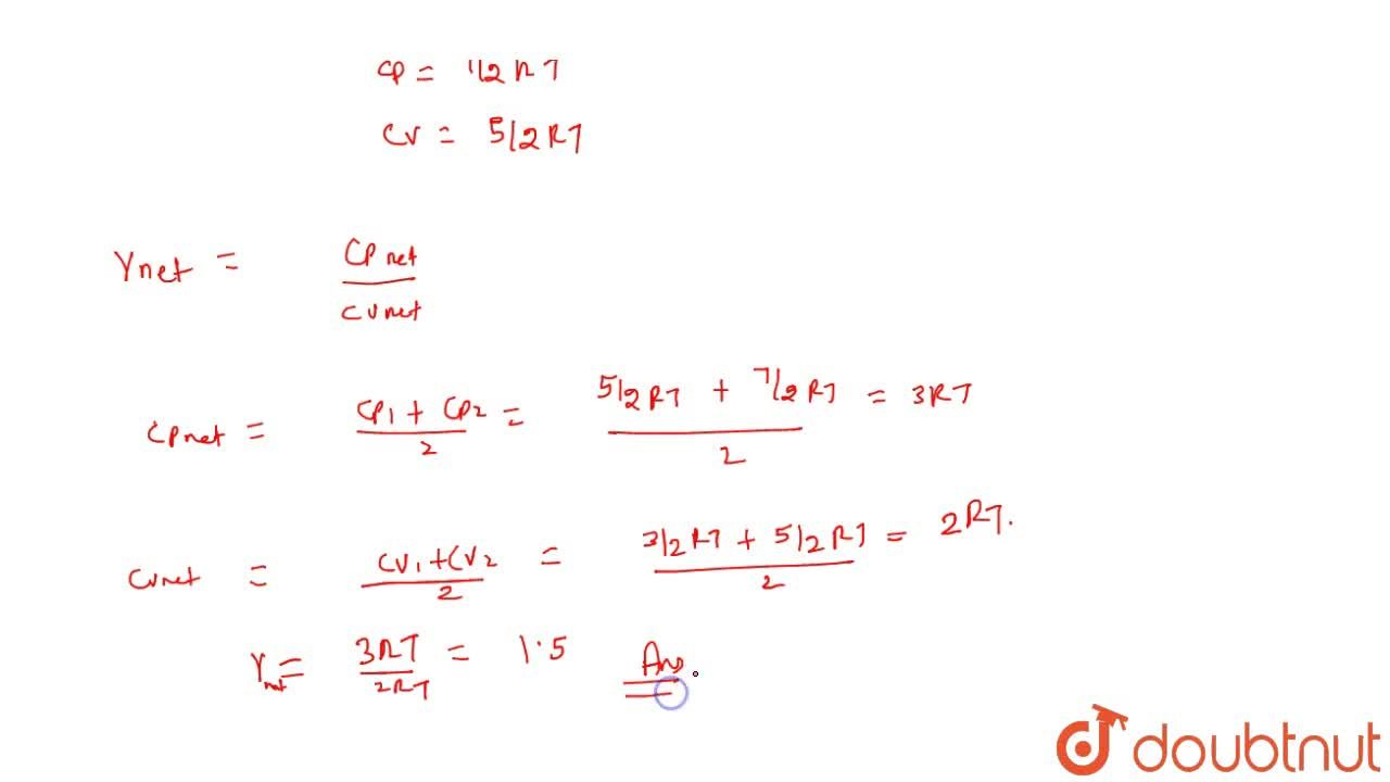 Solution for If one mole of a monoatomic gas (gamma=7,,53) is