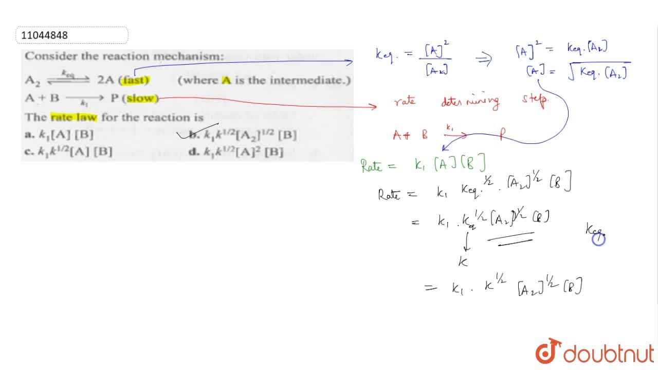 Solution for Conisder the reaction mechanism: <br> A_(2) overs