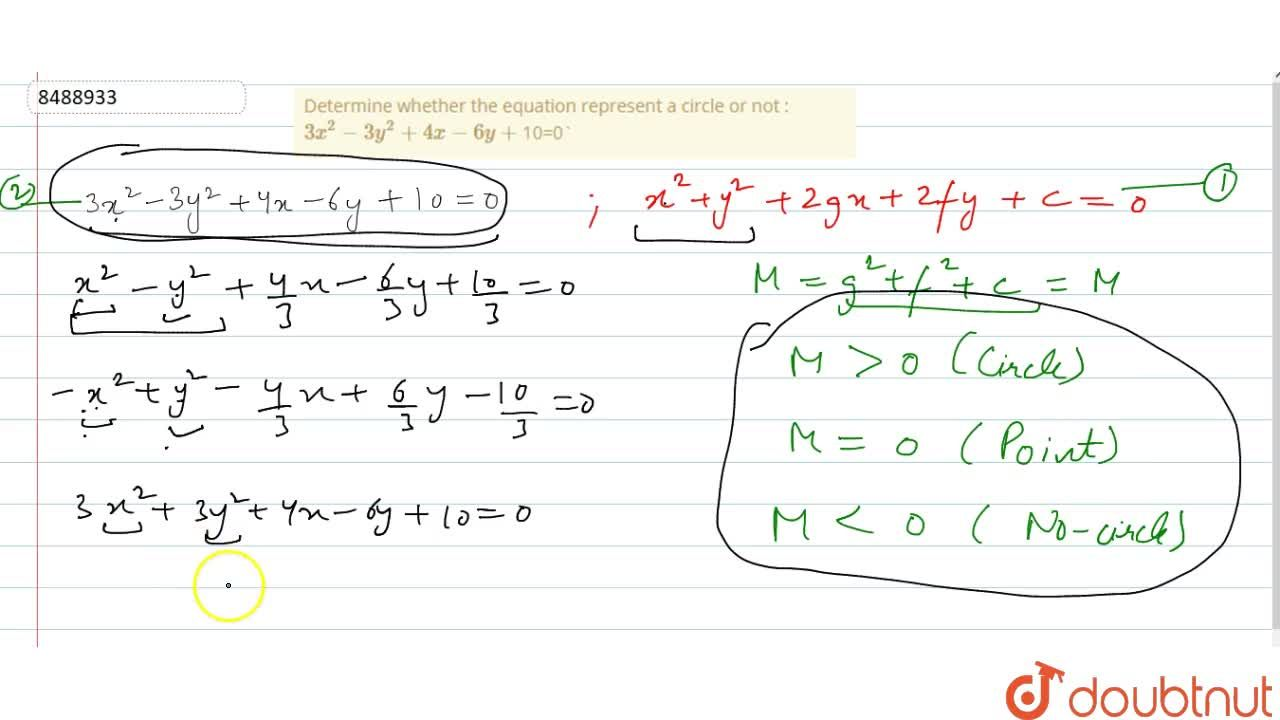 Determine whether the equation represent a circle or not : 3x^2 - 3y^2 + 4x-6y+10=0