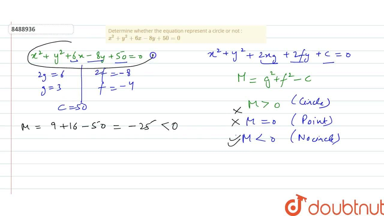 Determine whether the equation represent a circle or not : x^2 + y^2 + 6x - 8y + 50 = 0