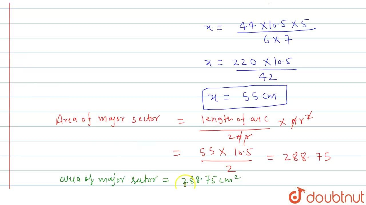 Solution for In a circle of radius 10.5cm the minor arc is one-