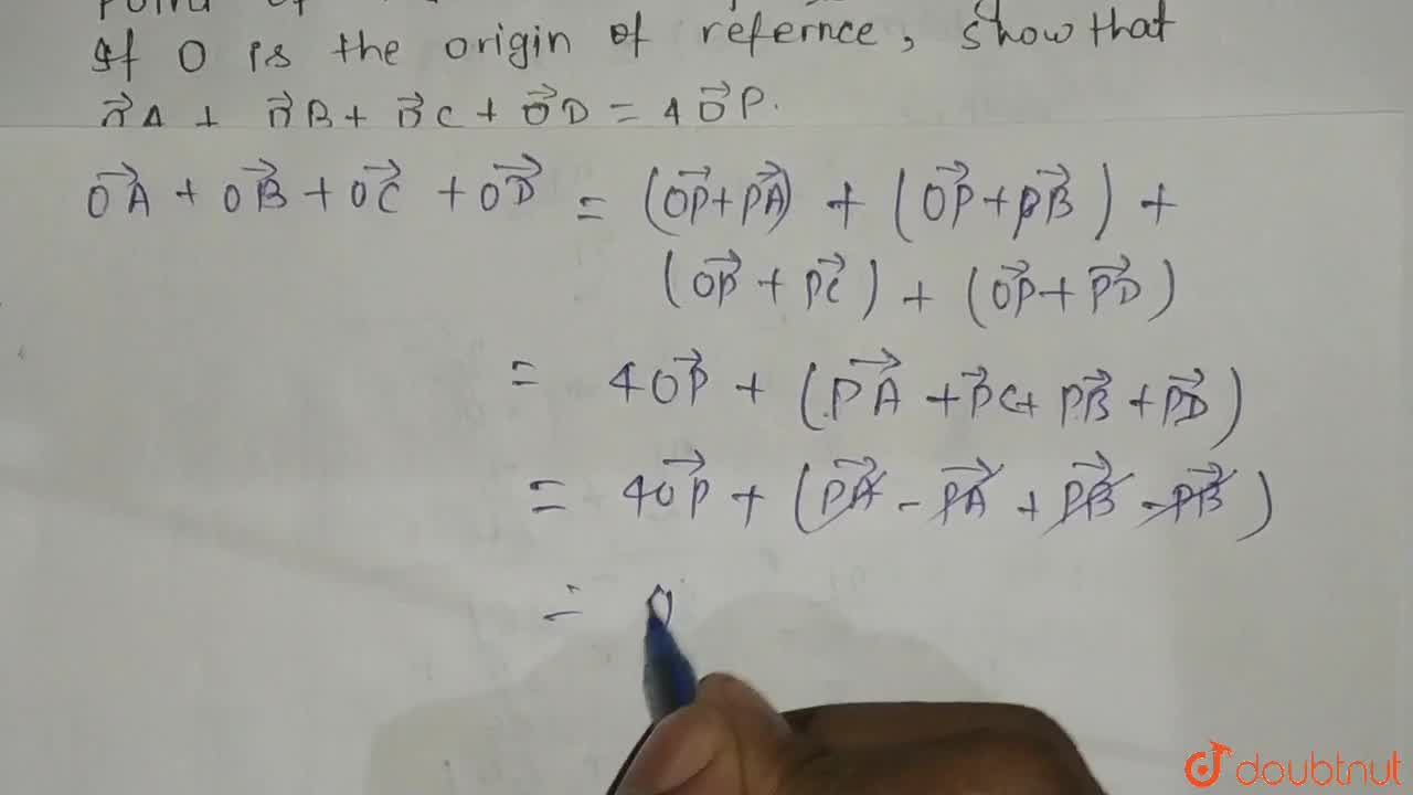 A B C D is parallelogram and P is the point of intersection of its diagonals. If O is the origin of reference, show that  vec O A+ vec O B+ vec O C+ vec O D=4 vec O Pdot