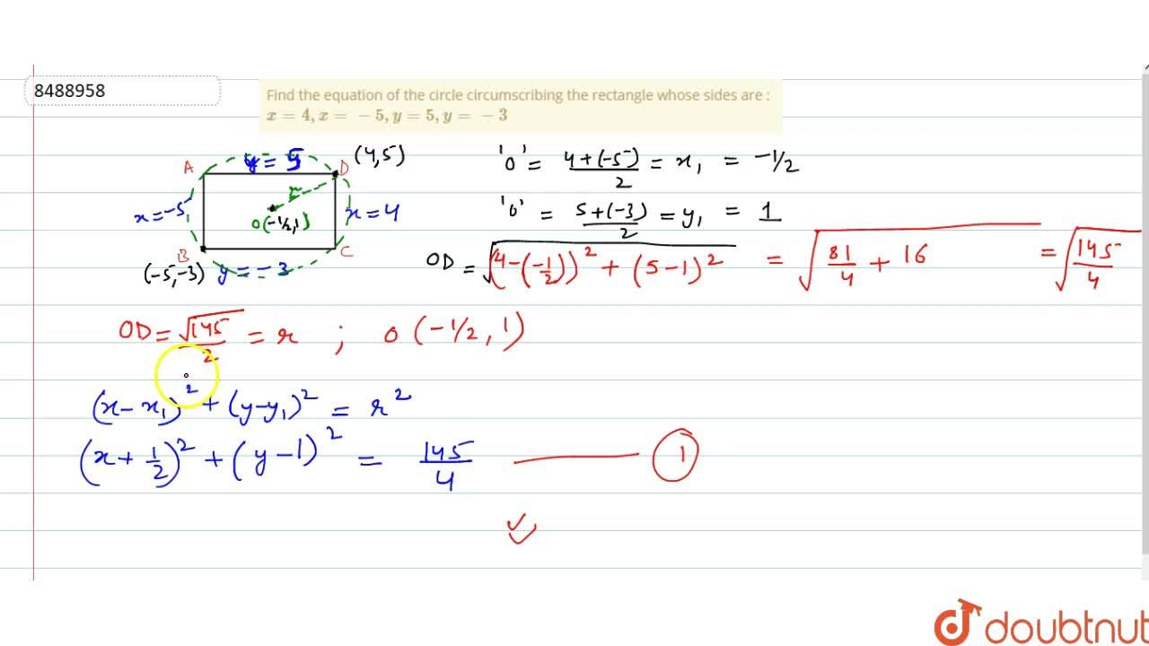 Solution for Find the equation of the circle circumscribing the