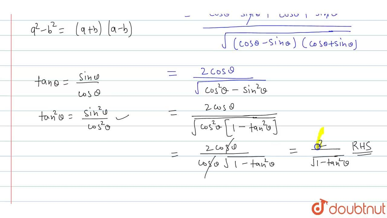 Solution for If m=cos theta-sin theta and n=costheta+sin the