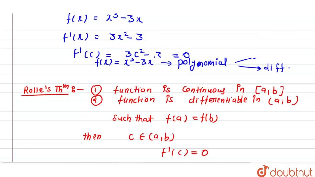 Solution for Find the value of c in Rolle's theorem for the fun