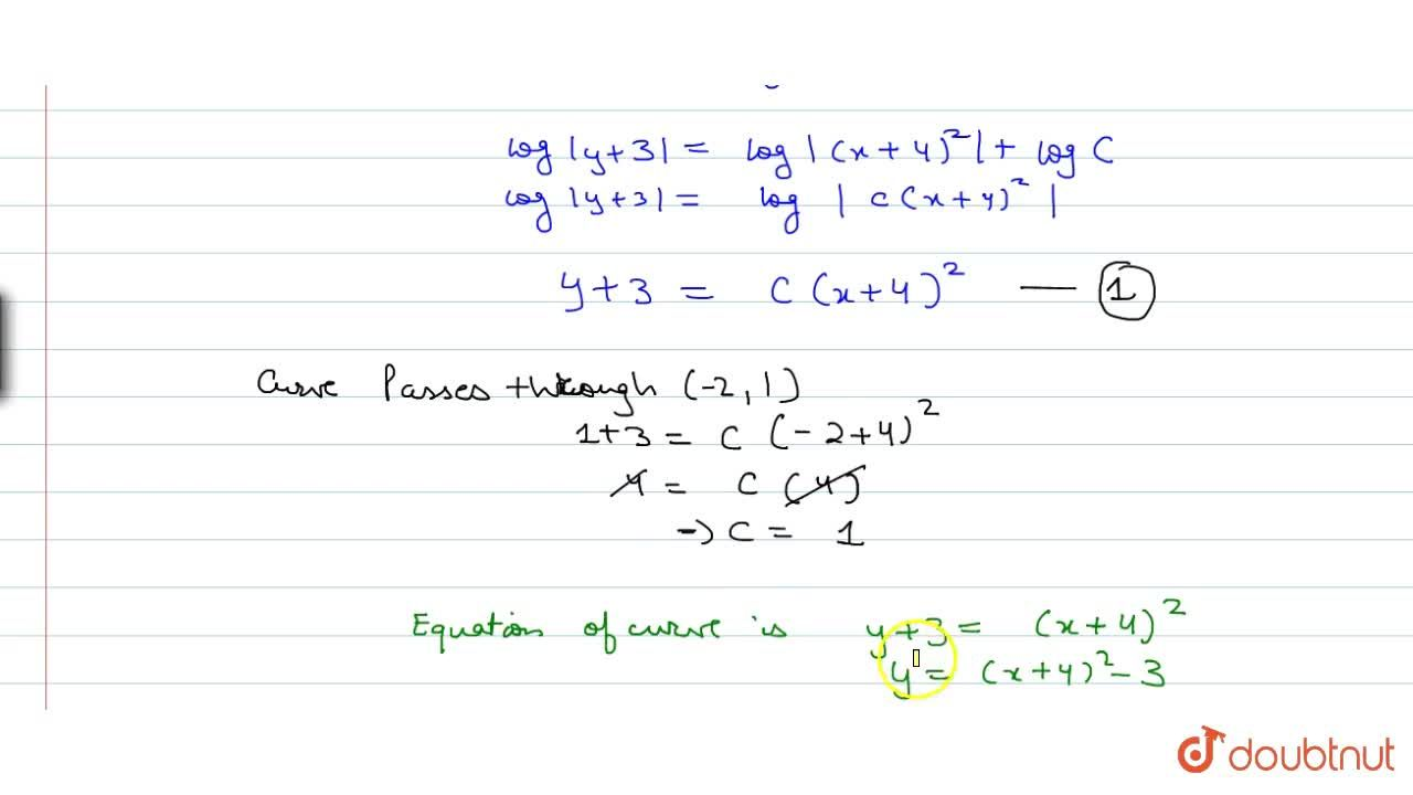 Solution for At any point P(x,y) of a curve, the slope of the