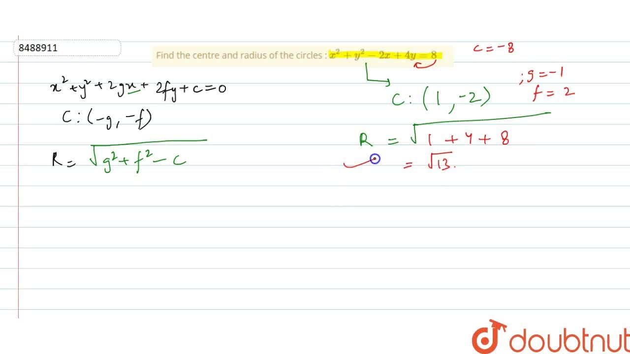 Solution for Find the centre and radius of the circles : x^2 +