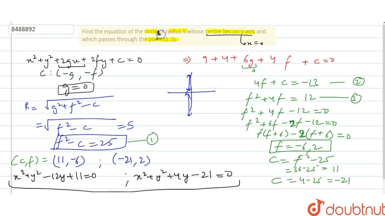 Solution for Find the equation of the circle of radius 5 whose