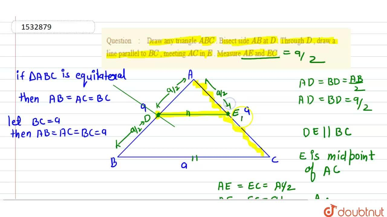 Solution for Draw any triangle A B C . Bisect side A B at
