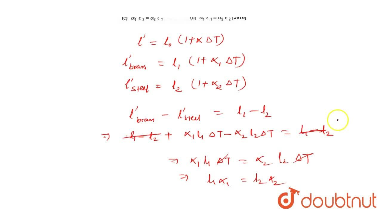 Solution for Coefficient of linear expansion of brass and steel