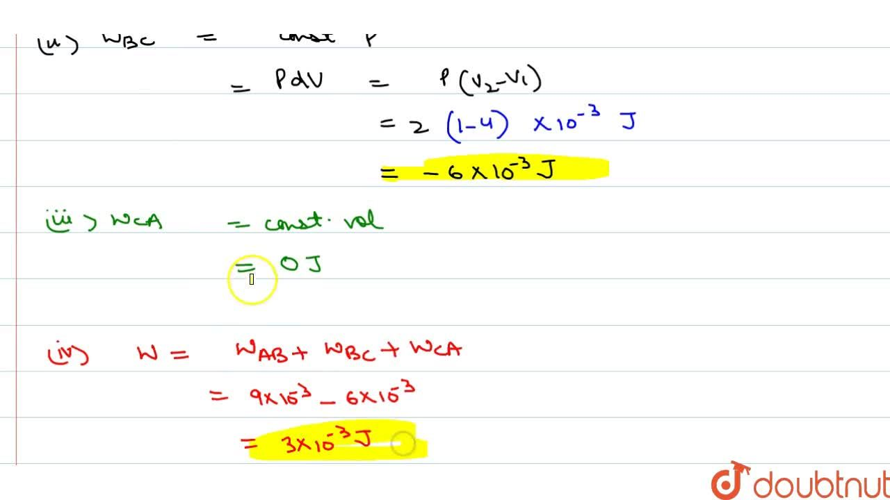 Solution for The P-V diagram for a cyclic process is a triang