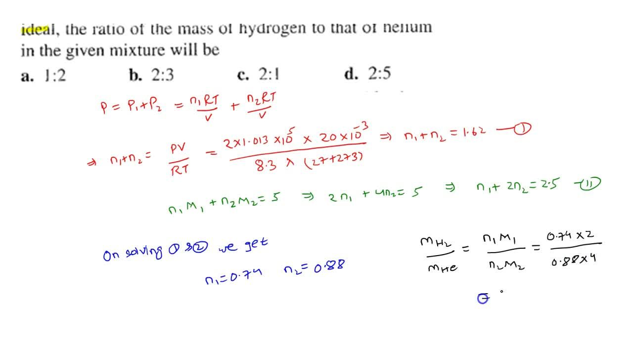 Solution for A vessel of volume 20 L contains a mixture o hyd