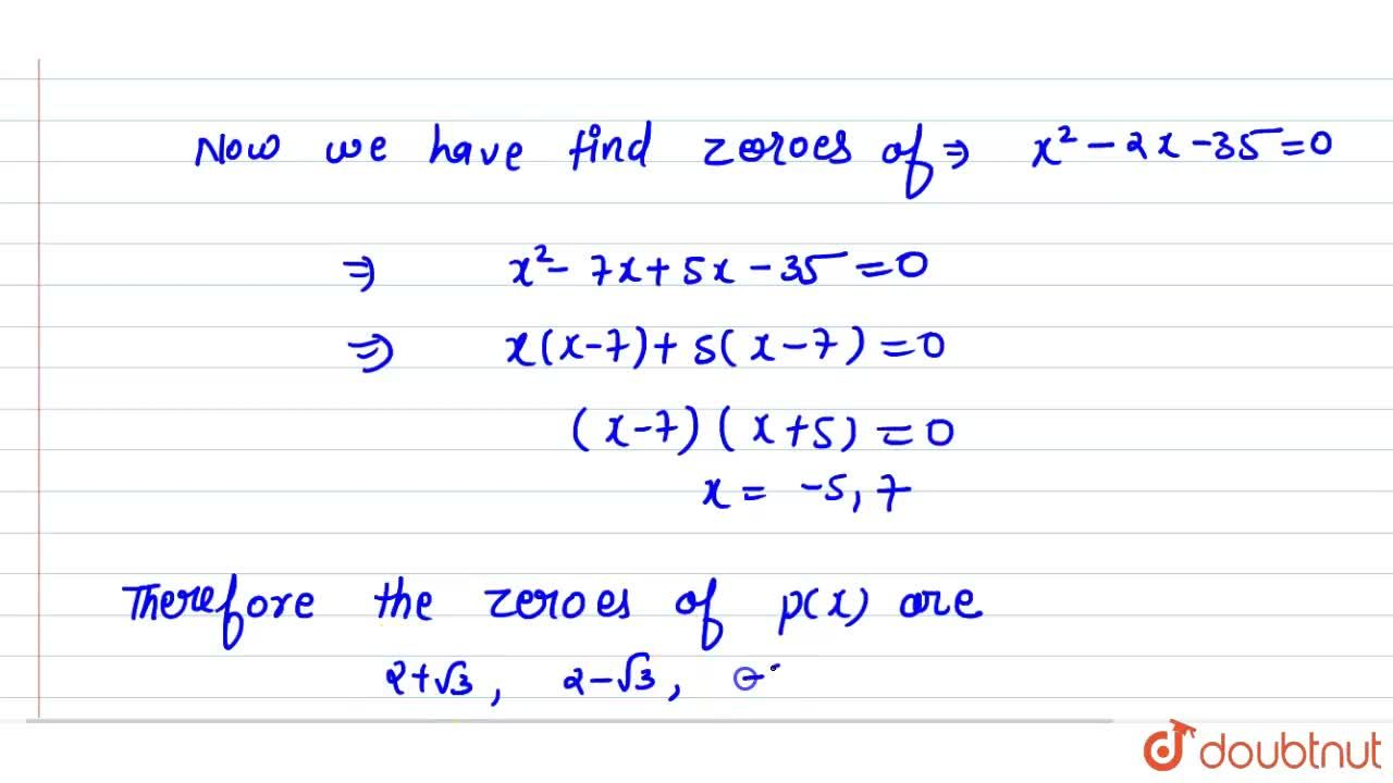 Solution for If two zeros of the  polynomial (x^(4)-6x^(3) - 2